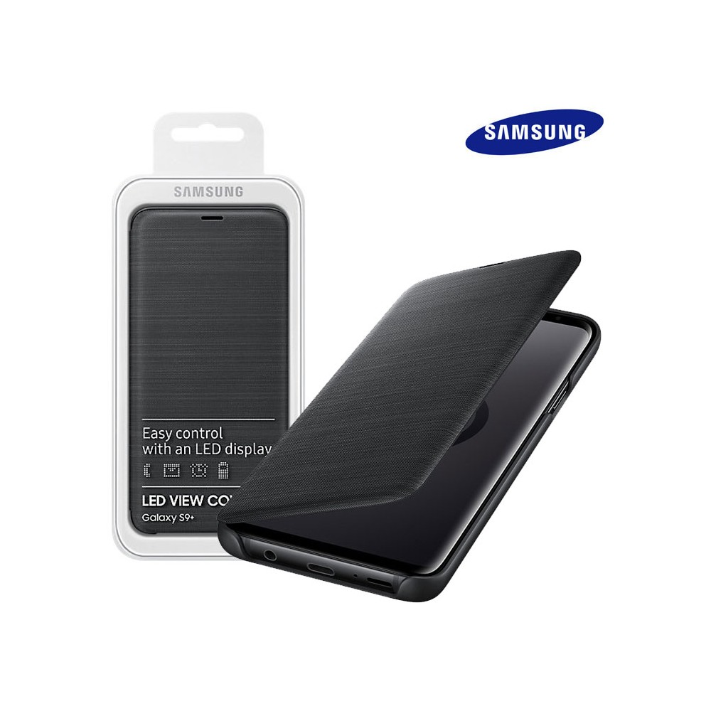 new product a51d3 19a61 CUSTODIA ORIGINALE per SAMSUNG GALAXY S9 PLUS (SM-G965) - LED VIEW COVER  COLORE NERO EF-NG965PBEGWW BLISTER