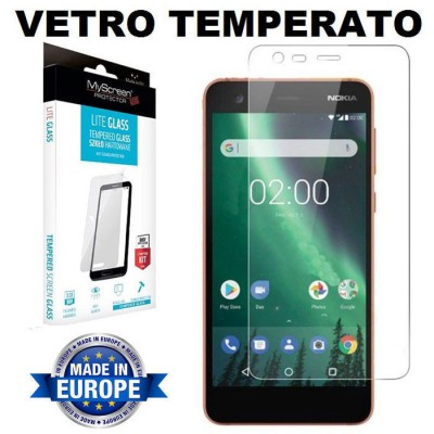 PELLICOLA per NOKIA 2 - PROTEGGI DISPLAY IN VETRO TEMPERATO 9H 0,33mm MYSCREEN BLISTER