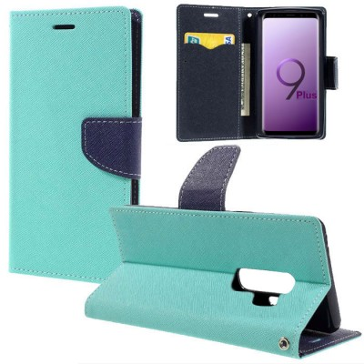 CUSTODIA per SAMSUNG GALAXY S9 PLUS (SM-G965) - FLIP ORIZZONTALE CON STAND, INTERNO IN TPU E PORTA CARTE COLORE VERDE ACQUA