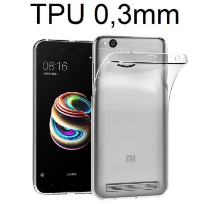 CUSTODIA per XIAOMI REDMI 5A (5.0') IN GEL TPU SILICONE ULTRA SLIM 0,3mm TRASPARENTE