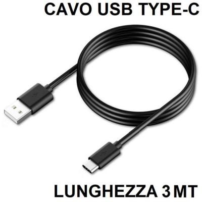 CAVO USB COMPATIBILE per SAMSUNG GALAXY S9 (SM-G960) - ATTACCO TYPE-C LUNGHEZZA 3 MT COLORE NERO SEGUE COMPATIBILITA'..