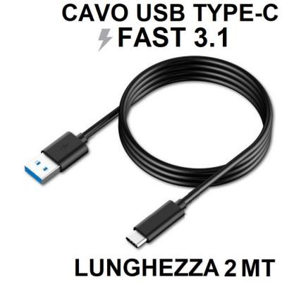 CAVO USB COMPATIBILE per SAMSUNG GALAXY S9 (SM-G960) - ATTACCO TYPE-C FAST 3.1 LUNGHEZZA 2 MT COLORE NERO SEGUE COMPATIBILITA'..