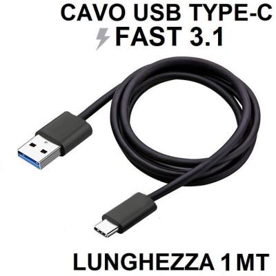 CAVO USB COMPATIBILE per SAMSUNG GALAXY S9 (SM-G960) - ATTACCO TYPE-C FAST 3.1 LUNGHEZZA 1 MT COLORE NERO SEGUE COMPATIBILITA'..