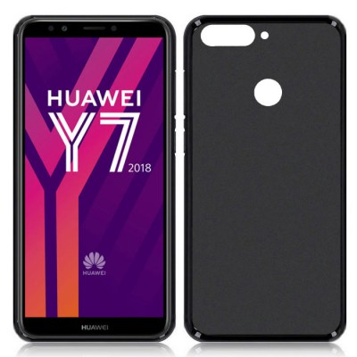 CUSTODIA per HUAWEI Y7 2018, Y7 PRIME 2018, Y7 PRO 2018, HONOR 7C IN GEL TPU SILICONE COLORE NERO