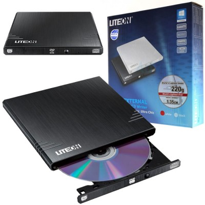 MASTERIZZATORE DVD/CD PORTATILE ULTRA SLIM USB 2.0 CON TECNOLOGIA SMART BURN E SMART X COLORE NERO EBAU108 LITEON BLISTER