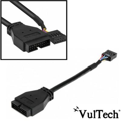 CAVO ADATTATORE USB PER COLLEGAMENTO A SCHEDE MADRI  CON USB MASCHIO 3.0 E USB FEMMINA 2.0 COLORE NERO VULTECH