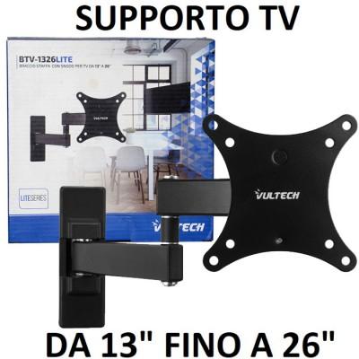 SUPPORTO A MURO UNIVERSALE CON SNODO PER LED, LCD E PLASMA DA 13' A 26' POLLICI MAX 15KG COLORE NERO VULTECH - ATTENZIONE..