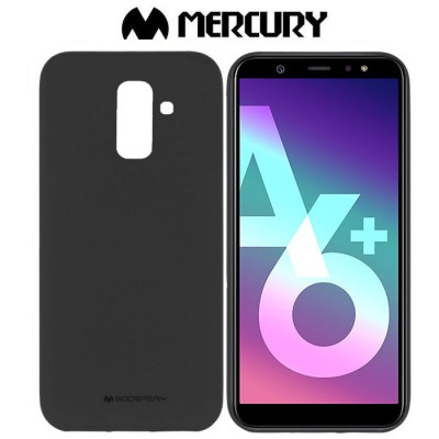 CUSTODIA per SAMSUNG GALAXY A6 PLUS 2018 (SM-A605) IN GEL TPU SILICONE COLORE NERO ALTA QUALITA' MERCURY SOFT BLISTER