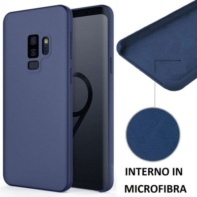 CUSTODIA per SAMSUNG GALAXY S9 PLUS (SM-G965) IN SILICONE CON EFFETTO SOFT TOUCH ED INTERNO IN MICROFIBRA COLORE BLU