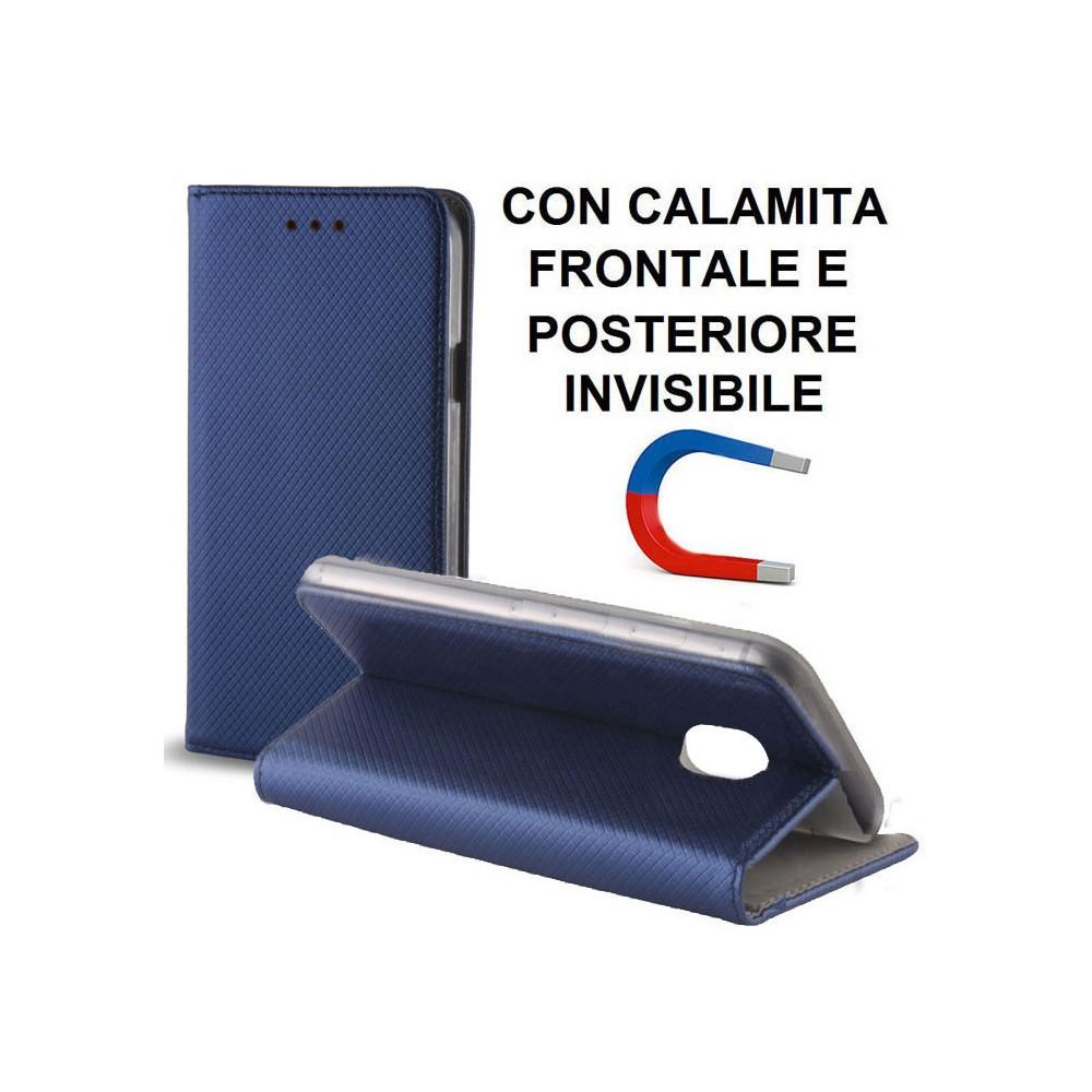 CUSTODIA per SAMSUNG SM-J737 GALAXY J7 (2018) - FLIP ORIZZONTALE CON CHIUSURA MAGNETICA INVISIBILE ED INTERNO IN TPU COLORE BLU