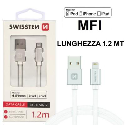 CAVO USB LIGHTNING per APPLE IPHONE XS, IPHONE XR CERTIFICATO MFI CON CAVO IN TESSUTO LUNGHEZZA 1.2MT SILVER SWISSTEN