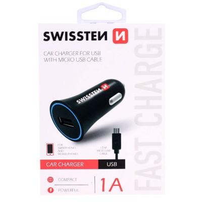 CAVO AUTO 1000 mAh + CAVO MICRO USB LUNGHEZZA 1,5 MT per SAMSUNG GALAXY J5 2017 (SM-J530) COLORE NERO SWISSTEN BLISTER