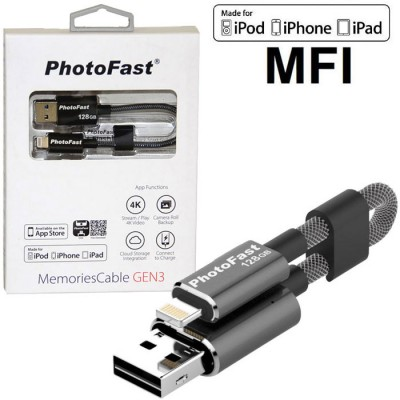 PEN DRIVE 128GB CON ATTACCO USB 3.1 A LIGHTNING per APPLE IPHONE X, IPHONE XS CERTIFICATO MFI PHOTOFAST BLISTER