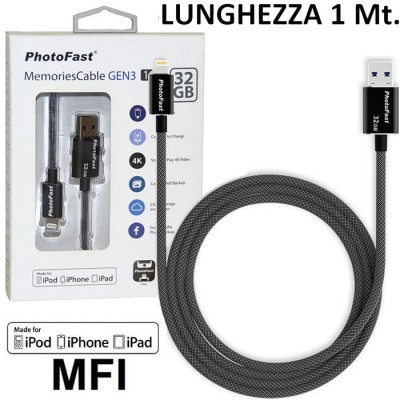 PEN DRIVE 32GB CON ATTACCO USB 3.1 A LIGHTNING per APPLE IPHONE XS CERTIFICATO MFI LUNGHEZZA 1 MT NERO PHOTOFAST BLISTER