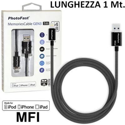 PEN DRIVE 64GB CON ATTACCO USB 3.1 A LIGHTNING per APPLE IPHONE XS CERTIFICATO MFI LUNGHEZZA 1 MT NERO PHOTOFAST BLISTER
