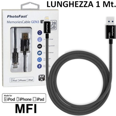 PEN DRIVE 128GB CON ATTACCO USB 3.1 A LIGHTNING per APPLE IPHONE XS CERTIFICATO MFI LUNGHEZZA 1 MT NERO PHOTOFAST BLISTER