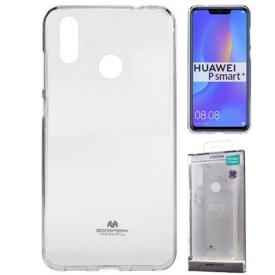 CUSTODIA per HUAWEI P SMART PLUS, NOVA 3i IN GEL TPU SILICONE TRASPARENTE ALTA QUALITA' MERCURY BLISTER