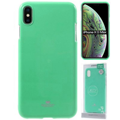 CUSTODIA per APPLE IPHONE XS MAX (6.5') IN GEL TPU SILICONE COLORE VERDE ACQUA LUCIDO ALTA QUALITA' MERCURY BLISTER