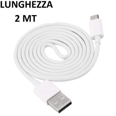 CAVO USB per SAMSUNG GALAXY A7 2018 (SM-A750) ATTACCO MICRO USB LUNGHEZZA 2 MT COLORE BIANCO SEGUE COMPATIBILITA'..