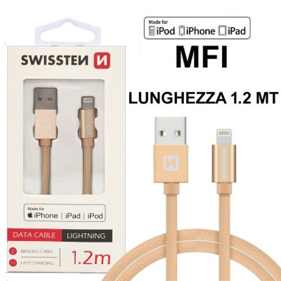 CAVO USB LIGHTNING per APPLE IPHONE XS, IPHONE XR CERTIFICATO MFI CON CAVO IN TESSUTO LUNGHEZZA 1.2MT ORO SWISSTEN