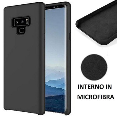 CUSTODIA per SAMSUNG GALAXY NOTE 9 (SM-N960) IN SILICONE CON EFFETTO SOFT TOUCH ED INTERNO IN MICROFIBRA COLORE NERO