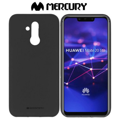 CUSTODIA per HUAWEI MATE 20 LITE IN GEL TPU SILICONE COLORE NERO ALTA QUALITA' MERCURY SOFT BLISTER
