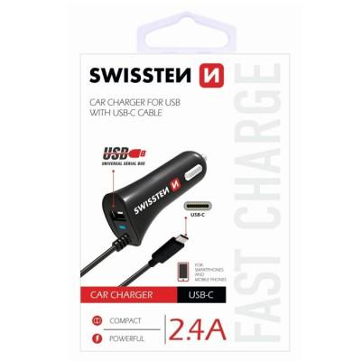 CAVO AUTO 2400 mAh CON ATTACCO TYPE-C + PORTA USB E CAVO A SPIRALE per SAMSUNG GALAXY S9 (SM-G960) COLORE NERO SWISSTEN