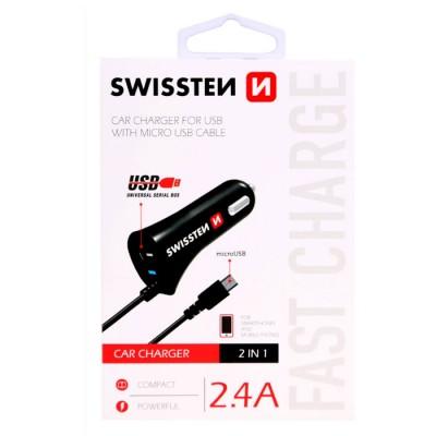 CAVO AUTO 2400 mAh CON ATTACCO MICRO USB + PORTA USB E CAVO A SPIRALE per SAMSUNG GALAXY J5 2017 (J530) COLORE NERO SWISSTEN