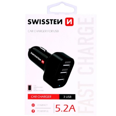 CAVO AUTO CON TRE PORTE USB ( 2 x 2.1A 1 x 1A ) TOT. 5200 mAh COLORE NERO 20111200 SWISSTEN BLISTER