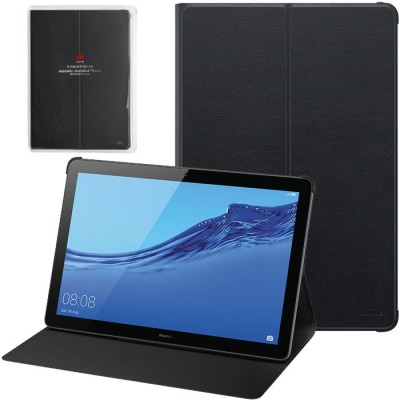 CUSTODIA ORIGINALE per HUAWEI MEDIAPAD T5 10 (10.1') - FLIP COVER IN PELLE CON STAND COLORE NERO 51992662 BLISTER
