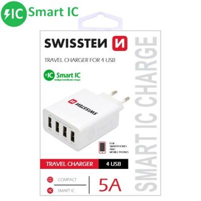 TRAVEL CASA 5000 mAh CON 4 PORTE USB E SISTEMA DI RICARICA INTELLIGENTE (SMART IC) COLORE BIANCO SWISSTEN BLISTER