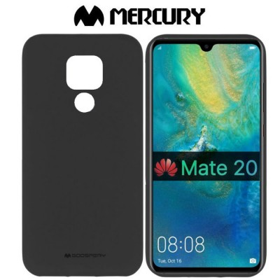 CUSTODIA per HUAWEI MATE 20 IN GEL TPU SILICONE COLORE NERO ALTA QUALITA' MERCURY SOFT BLISTER