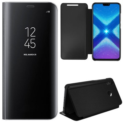 CUSTODIA per HUAWEI HONOR 8X, HONOR VIEW 10 LITE - FLIP ORIZZONTALE CLEAR VIEW STANDING COVER COLORE NERO