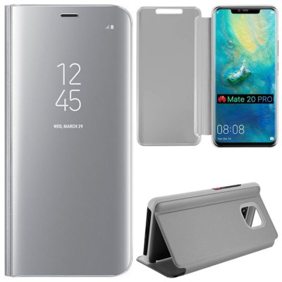 CUSTODIA per HUAWEI MATE 20 PRO - FLIP ORIZZONTALE CLEAR VIEW STANDING COVER COLORE SILVER