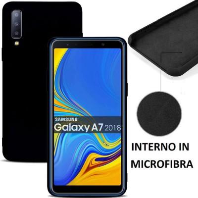 CUSTODIA per SAMSUNG GALAXY A7 2018 (SM-A750) IN SILICONE CON EFFETTO SOFT TOUCH ED INTERNO IN MICROFIBRA COLORE NERO