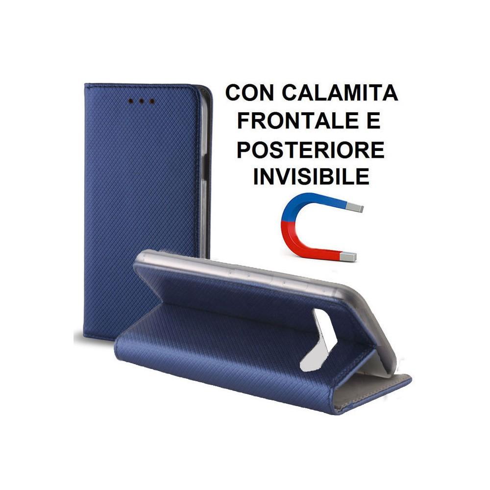 CUSTODIA per SAMSUNG GALAXY S10 (SM-G973) - FLIP ORIZZONTALE CON CHIUSURA MAGNETICA INVISIBILE ED INTERNO IN TPU COLORE BLU