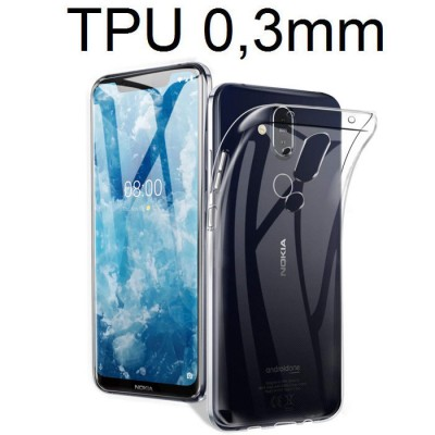 CUSTODIA per NOKIA 8.1, NOKIA 7.1 PLUS IN GEL TPU SILICONE ULTRA SLIM 0,3mm TRASPARENTE