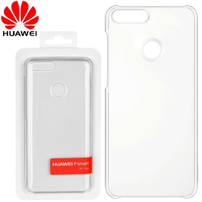 CUSTODIA ORIGINALE per HUAWEI P SMART, ENJOY 7S - BACK CASE POSTERIORE RIGIDA TRASPARENTE BLISTER