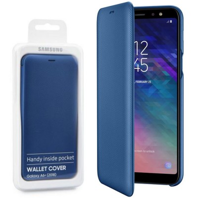 CUSTODIA per SAMSUNG GALAXY A6 PLUS 2018 (SM-A605) - WALLET COVER ORIGINALE COLORE BLU EF-WA605CLEGWW BLISTER