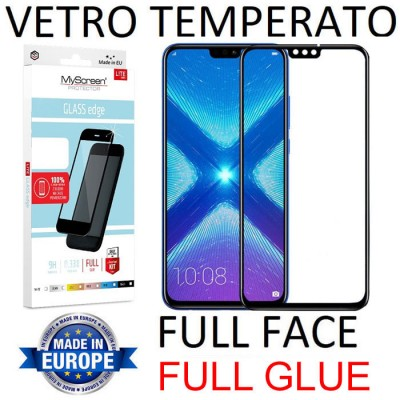 PELLICOLA per HUAWEI HONOR 8X, HONOR VIEW 10 LITE IN VETRO TEMPERATO FULL FACE 9H - FULL GLUE 0,33mm CON CORNICE NERA MYSCREEN L