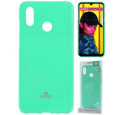 CUSTODIA per HUAWEI P SMART 2019, HONOR 10 LITE IN GEL TPU SILICONE COLORE VERDE ACQUA LUCIDO ALTA QUALITA' MERCURY BLISTER