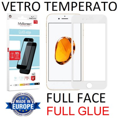 PELLICOLA per APPLE IPHONE 7, IPHONE 8 IN VETRO TEMPERATO FULL FACE 9H - FULL GLUE 0,33mm CON CORNICE BIANCA MYSCREEN LITE