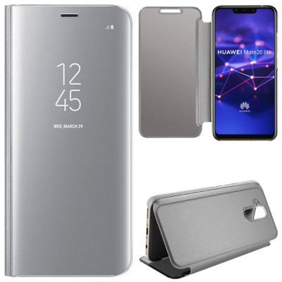 CUSTODIA per HUAWEI MATE 20 LITE - FLIP ORIZZONTALE CLEAR VIEW STANDING COVER COLORE SILVER