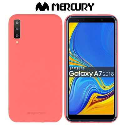 CUSTODIA per SAMSUNG GALAXY A7 2018 (SM-A750) IN GEL TPU SILICONE COLORE ROSA ALTA QUALITA' MERCURY SOFT BLISTER