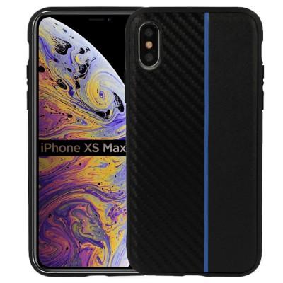CUSTODIA per APPLE IPHONE XS MAX (6.5') IN GEL TPU SILICONE COLORE NERO EFFETTO CARBONIO CON INSERTO BLU