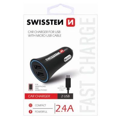 CAVO AUTO 2400mAh CON 2 PORTE USB + CAVO MICRO USB LUNGHEZZA 1,5 MT per SAMSUNG GALAXY A7 2018 (SM-A750) NERO SWISSTEN