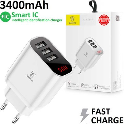 TRAVEL CASA 3400 mAh FAST CHARGING CON 3 PORTE USB, SISTEMA DI RICARICA INTELLIGENTE (SMART IC) E DISPLAY COLORE BIANCO BASEUS