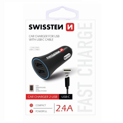 CAVO AUTO 2400mAh CON 2 PORTE USB + CAVO TYPE-C LUNGHEZZA 1,2 MT per SAMSUNG GALAXY S10 (SM-G973) COLORE NERO SWISSTEN