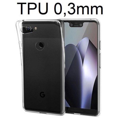 CUSTODIA per GOOGLE PIXEL 3 XL - IN GEL TPU SILICONE ULTRA SLIM 0,3mm TRASPARENTE