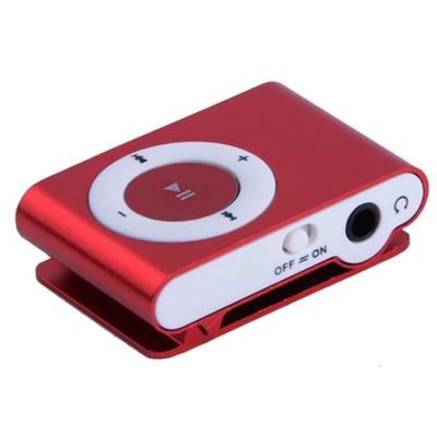 MINI LETTORE MP3 CON CLIP, SLOT MICRO SD E USCITA MICRO USB COLORE ROSSO BLISTER - ATTENZIONE: MEMORIA MICRO SD NON INCLUSA!